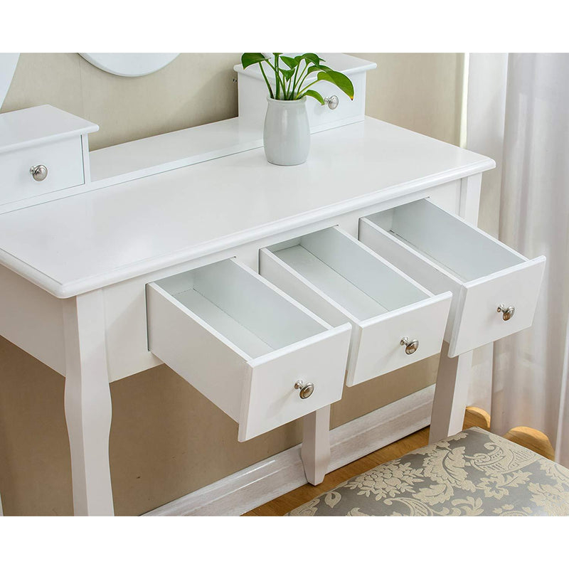 White 5-Drawer Vanity Makeup Dressing Table with Oval Mirror, Jacquard