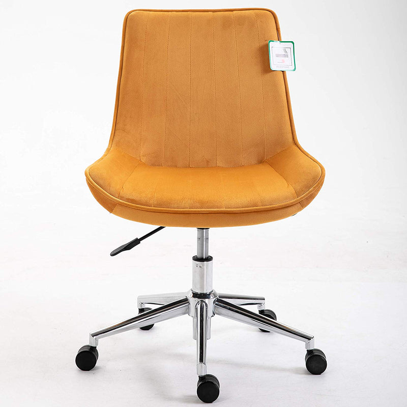 Cherry Tree Furniture Cala Mustard Yellow Colour Velvet Fabric Desk Chair Swivel Chair with Chrome Base