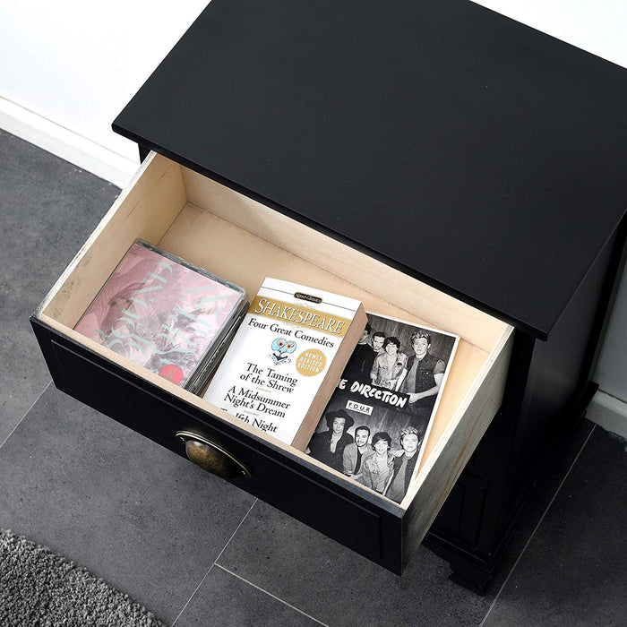 CAMROSE Wooden Chest of Drawers/Bedside Table with Metal Cup Pull Handles Black 4 Drawer 6