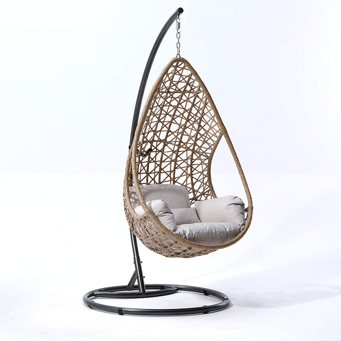 Indra Rattan Effect Patio Hanging Egg Chair 1