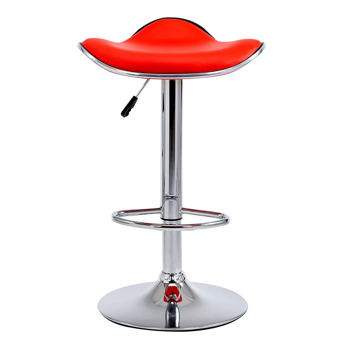 faux leather chrome base swivel bar stool with silver trim mb 202red in pair red