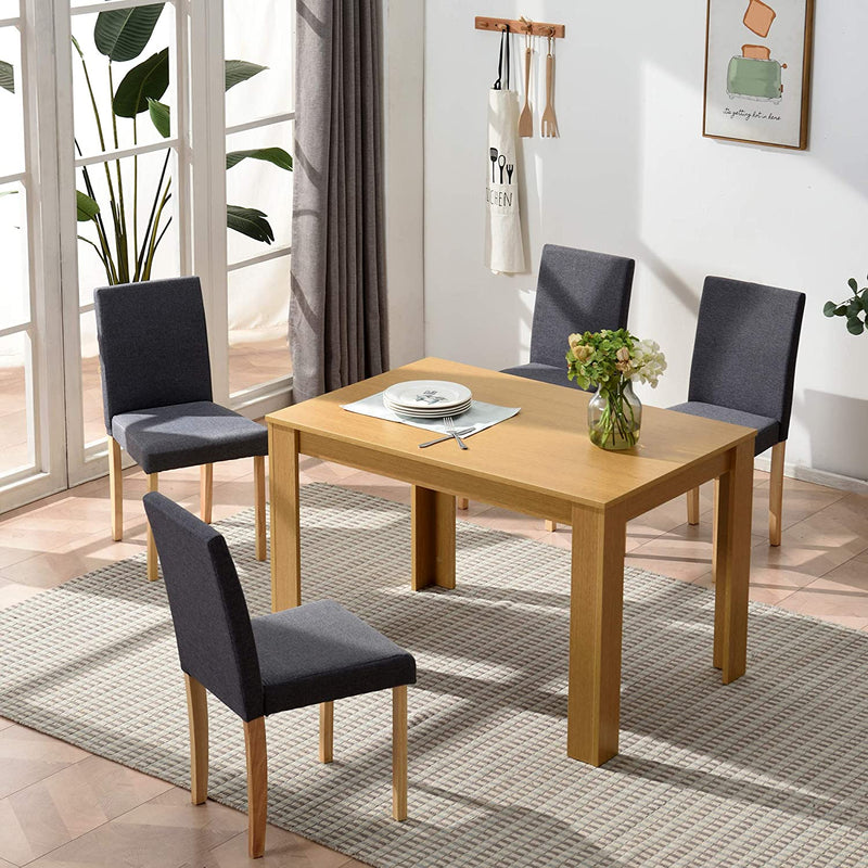 5 Piece Dining Room Set 4 Seater Dining Table with 4 Chairs with Oak Colour Table and Grey fabric Seats 3