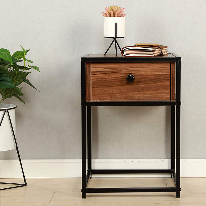 CLIVE Mid-Century Style Walnut Colour Bedside Table Nightstand End Table With Black Metal Frame (BC-02)
