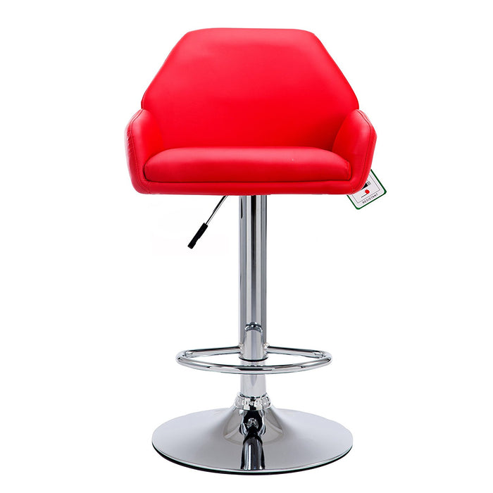 Medium Back Faux Leather Chrome Base Swivel Bar Stool in Pair, Red
