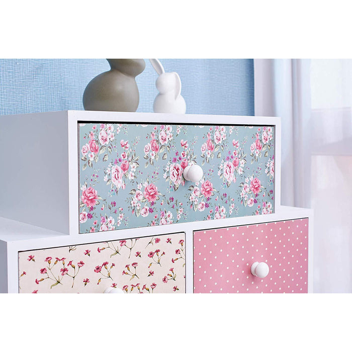 Cherry Tree Furniture CANTERBURY Wooden 6-Drawer Chest Cabinet, Floral & Polka Dot Pattern