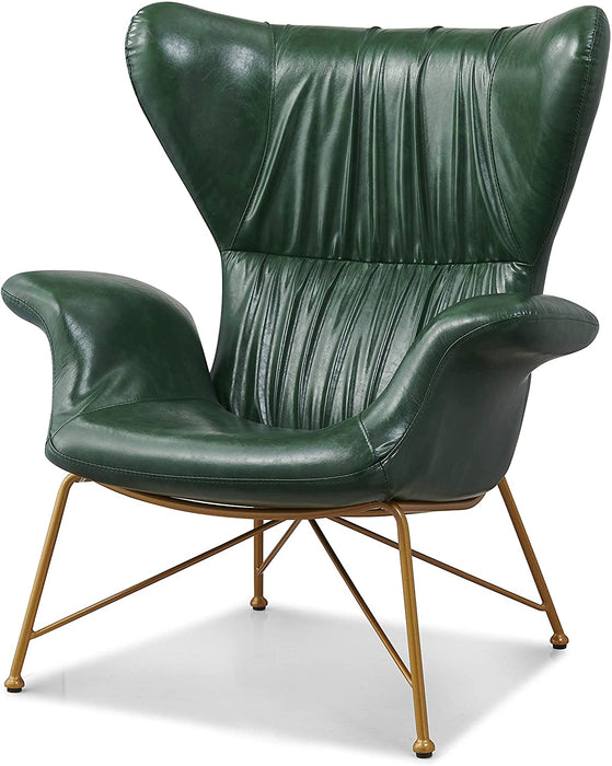 Oliver Vintage Effect Wingback Green PU Leather Armchair Accent Chair 3