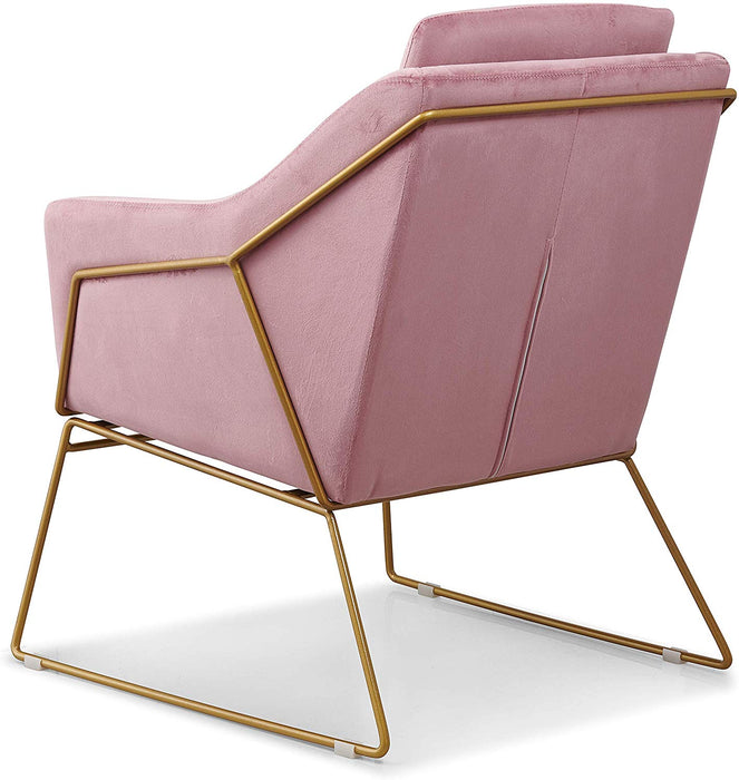 HEDY Velvet Accent Chair Armchair with Sculptural Metal Frame in Pink Velvet 6