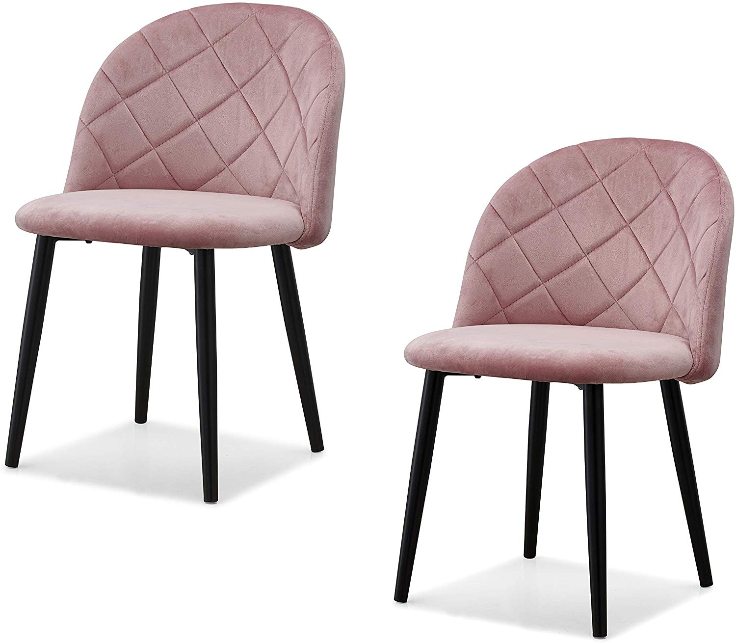 Set of 2 Edmonton Velvet Dining Chairs with Quilted Backrest in Pink 1