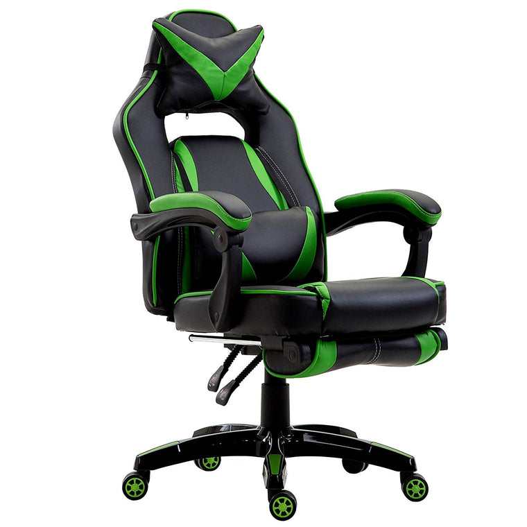 High Back Recliner Gaming Swivel Chair with Footrest & Adjustable Lumbar & Head Cushion, MR49 Black & Green