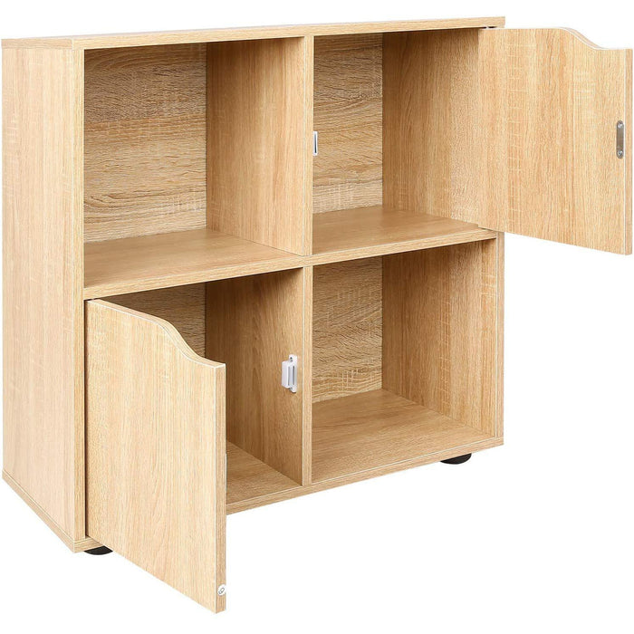 NORDI Multi Compartment Cube Storage Unit Organiser Sideboard Cabinet with 2 Cupboard Doors Oak