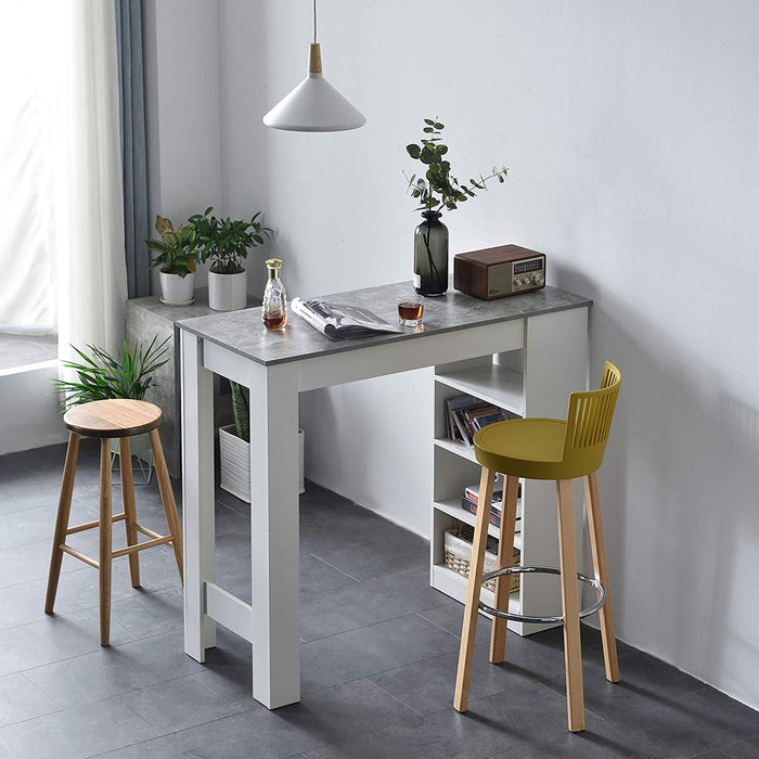 Cherry Tree Furniture BARUM White Bar Table with Grey Concrete Effect Top & 4-Layer Shelving Unit