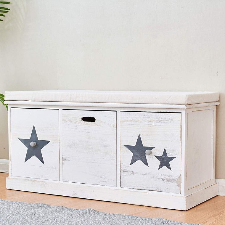 Cherry Tree Furniture Distressed Vintage Style Washed White Painted Paulownia Wood Hallway Storage Bench Ottoman with 3 Drawers