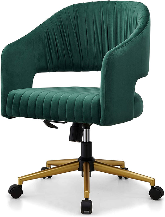 Perce Velvet Swivel Desk Chair Green 5