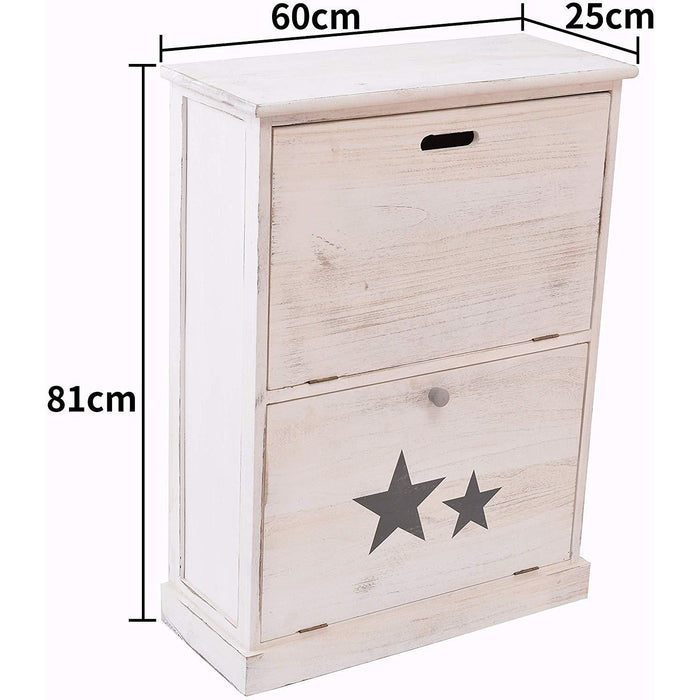 Cherry Tree Furniture Distressed Vintage Style Washed White Painted Paulownia Wood Shoe Storage Cabinet Hallway Shoe Racks 2-Drawer Cabinet
