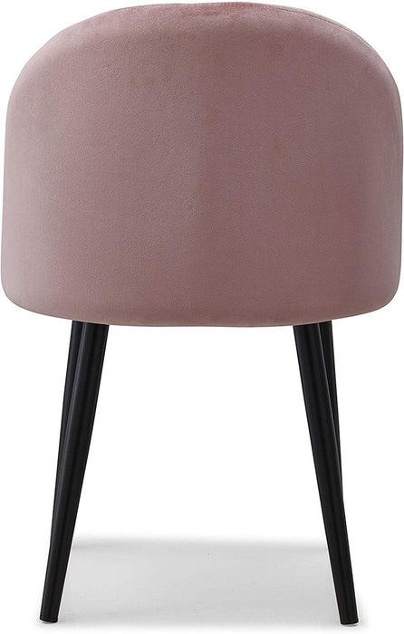 Set of 2 Edmonton Velvet Dining Chairs with Quilted Backrest in Pink 7