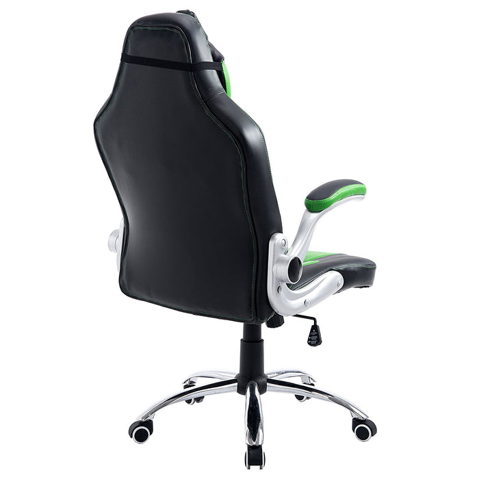ctf high back racing sport swivel chair with adjustable armrests headrest cushion green