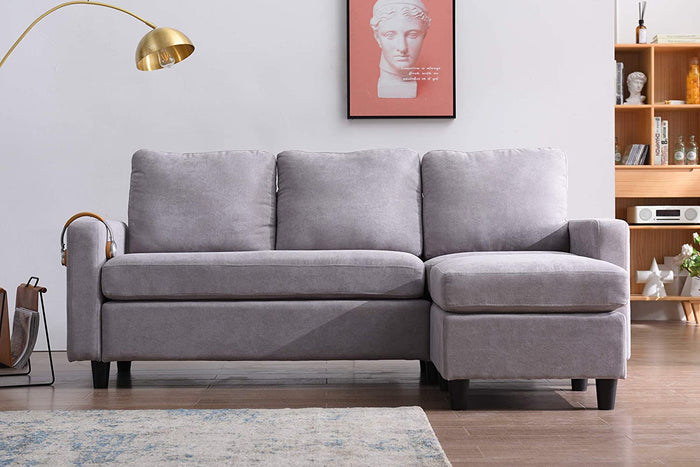 Campbell 3 Seater Sofa with Reversible Chaise in Light Grey 3