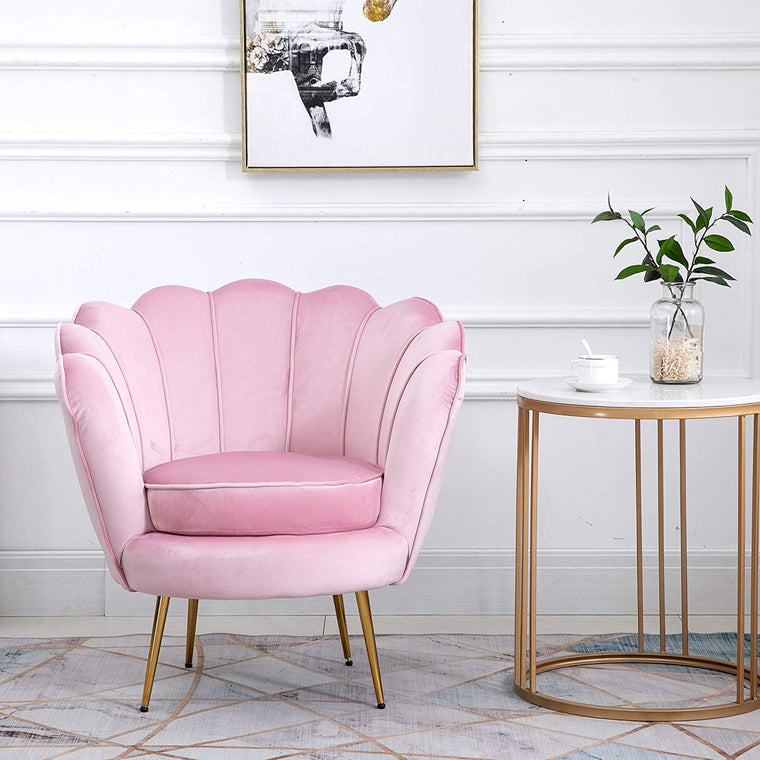 Hepburn Accent Chair in Pink Velvet