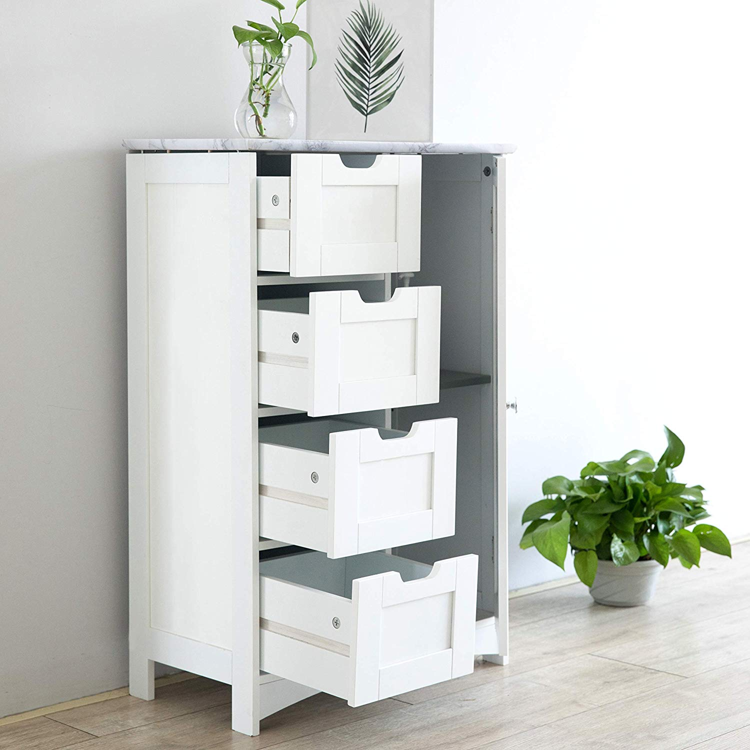 Picture of: Free Standing Wooden Bathroom Cabinet With 1 Door Cupboard And 4 Drawer Marble Effect Top Bat 01 White Shop Designer Home Furnishings