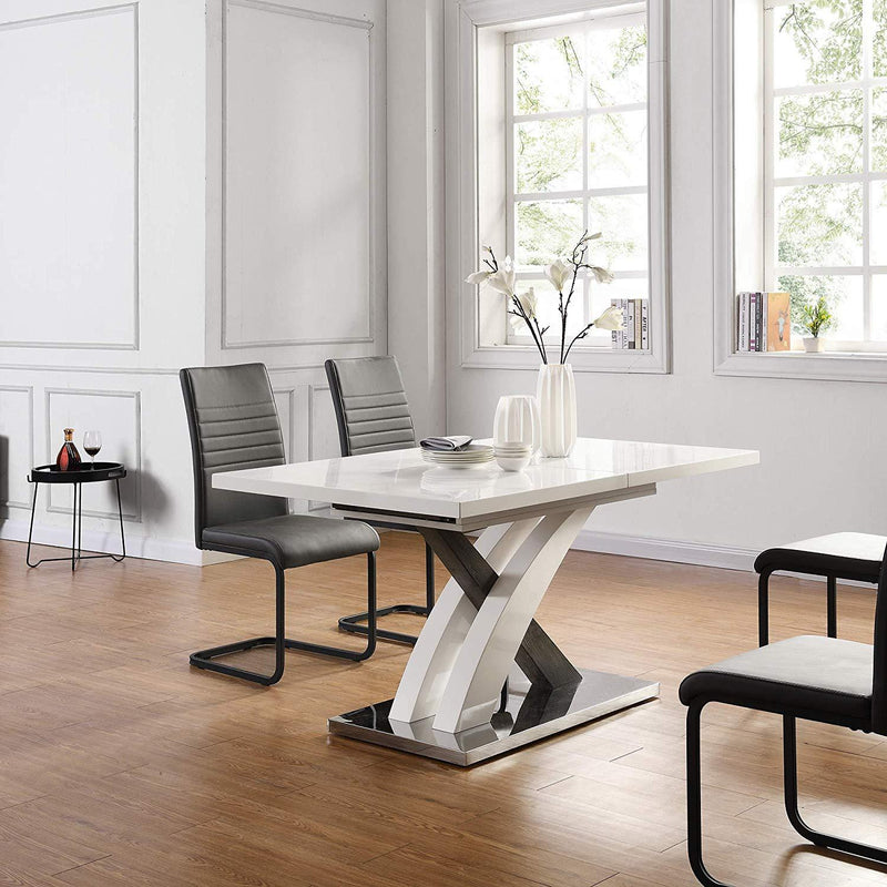 BASEL High Gloss White Extendable Dining Table 6 to 8-Seater with Stainless Steel Base 2