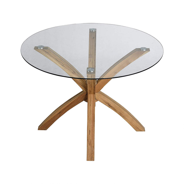 LUGANO Round Glass Top Solid Oak Legs Dining Table 3