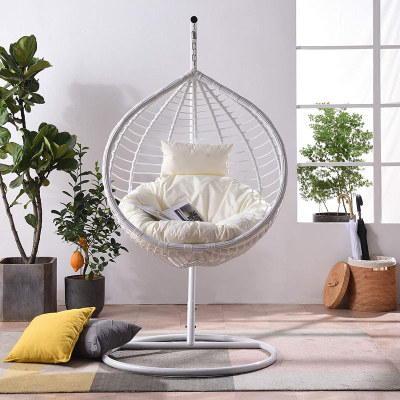 Breeze White Rattan Effect Hanging Egg Chair 2