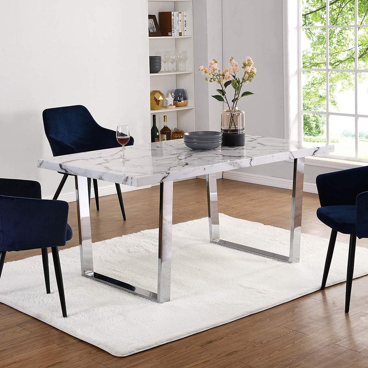 BIASCA 6-Seater High Gloss Marble Effect Dining Table with Silver Chrome Legs White