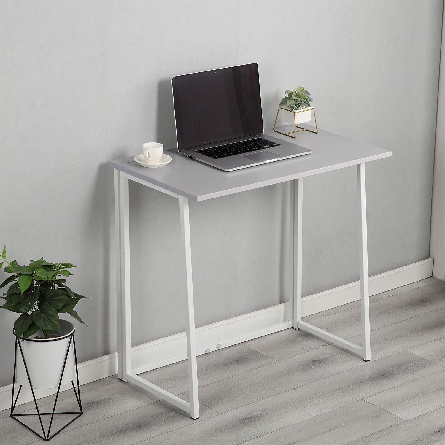 Cherry Tree Furniture Compact Folding Computer Desk Laptop Desktop Table in Grey