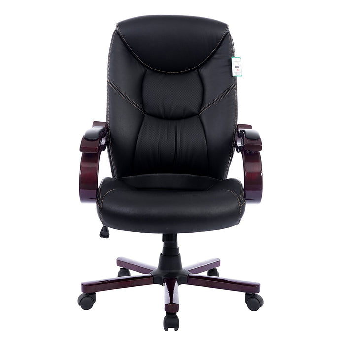 luxury wooden frame extra padded desk computer office chair in black