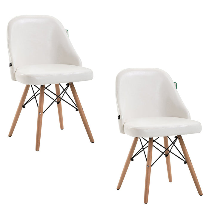 ctf retro modern pu leather padded dining chair pair with solid legs white
