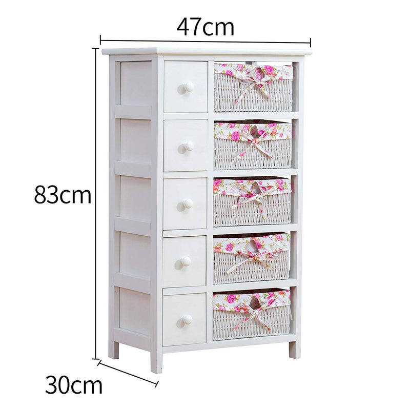 Shabby Chic White 5-Layer Chest of Drawers with Floral Wicker Baskets