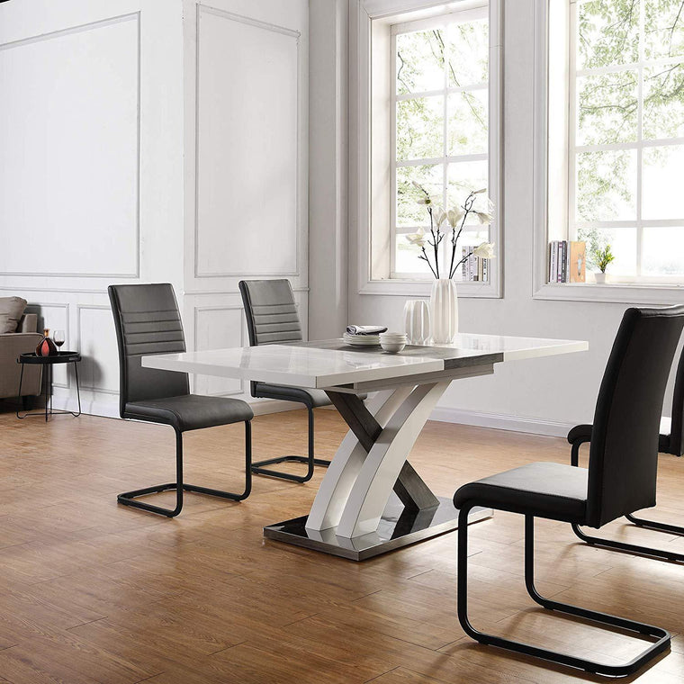 BASEL High Gloss White Extendable Dining Table 6 to 8-Seater with Stainless Steel Base