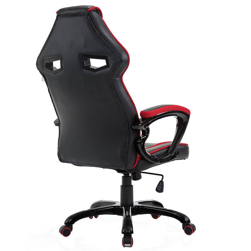 CTF Racing Style Gaming PU Leather Swivel Desk Chair with Fabric Trim, Red