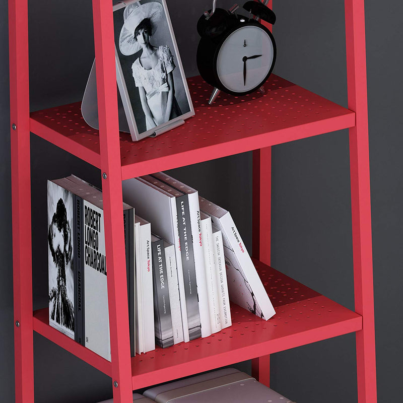 HUBA 4-Tier Shelving Unit Display Stand, Red