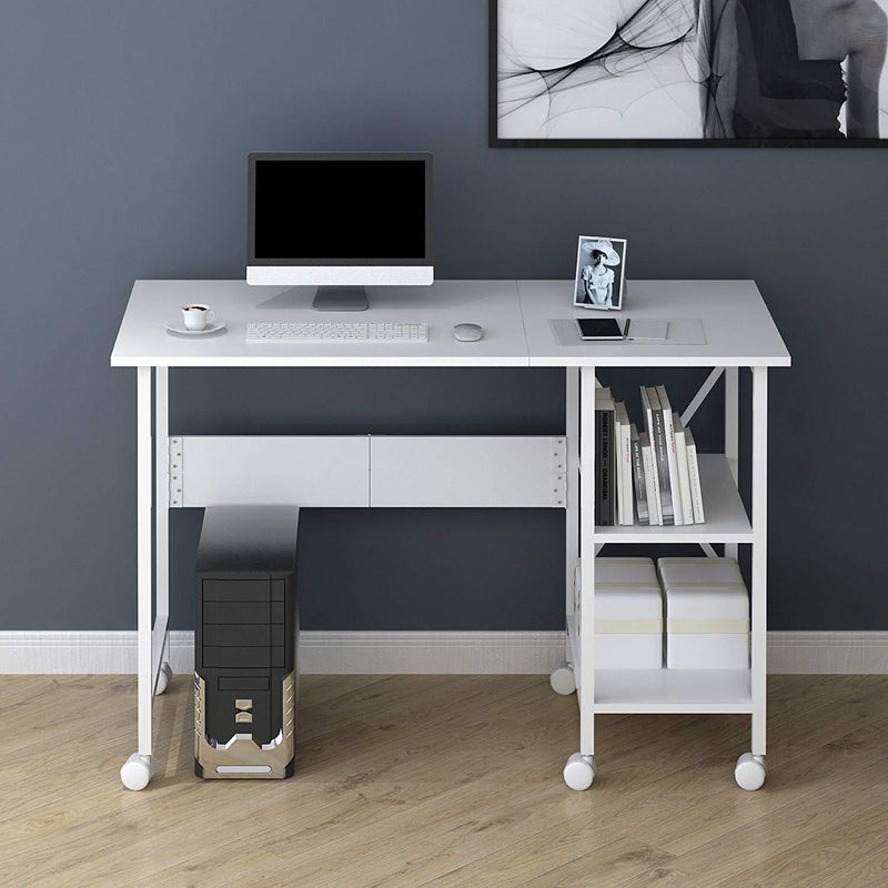 2-IN-1 Extending Computer Desk Workstation Table with Storage Shelf & Rolling Castors, White