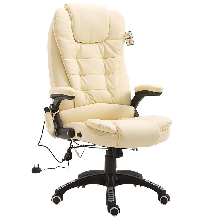 Executive Recline Padded Swivel Office Chair with Vibrating Massage Function, MM17 Cream