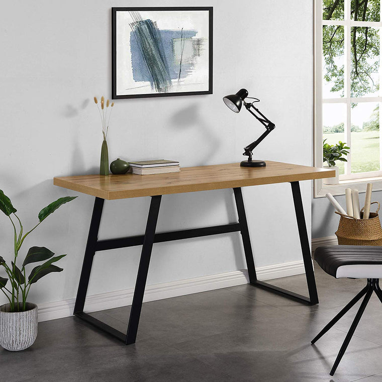 KLOTEN Oak Effect Desk with Black Metal Legs