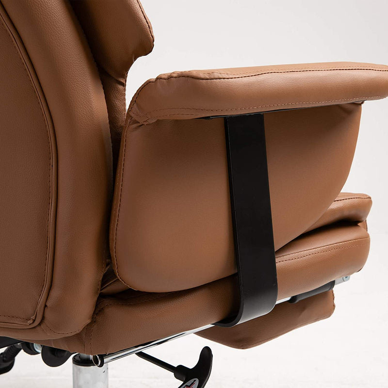 Abraham Wingback Style Office Chair with Footrest in Brown PU Leather 9