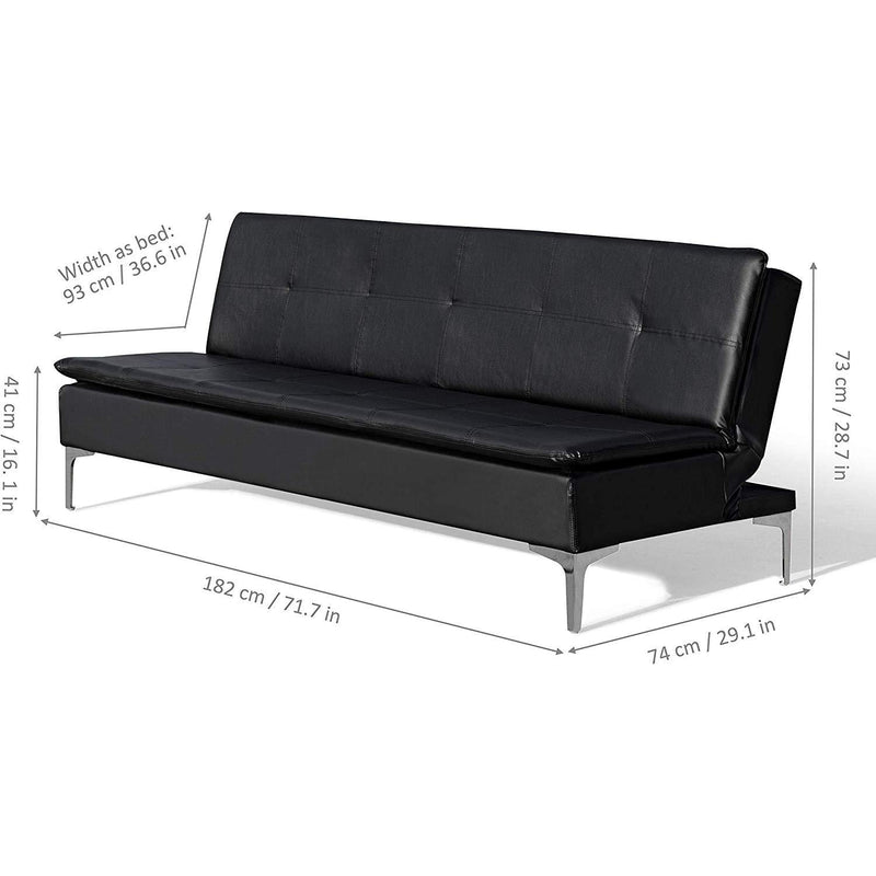 Cherry Tree Furniture EDVIN 3-Seater Sofa Bed/w Chrome Feet Black