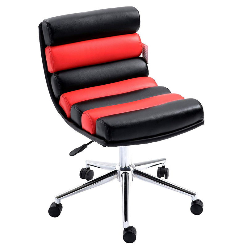 Rainbow Faux Leather Chrome Base Desk Chair, Black & Red