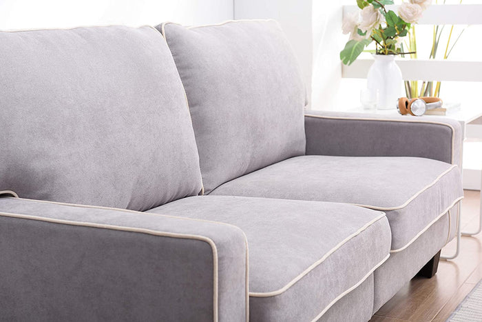 Sherbrook Large 2 Seater Fabric Sofa with Contrasting Trim in Light Grey Fabric 5