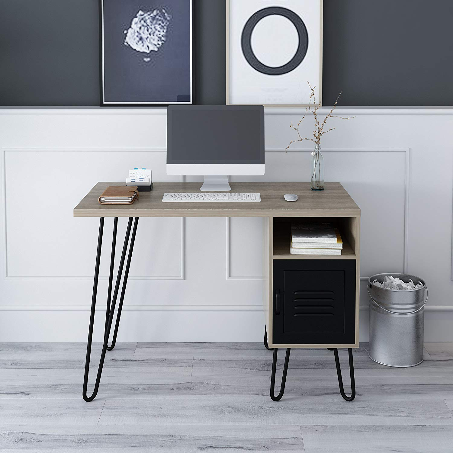 Stella Wood Computer Desk Writing Desk With Steel Legs