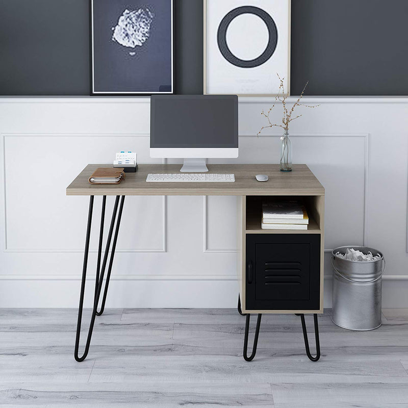STELLA Wood Computer Desk Writing Desk with Steel Legs & Built-in Cupboard