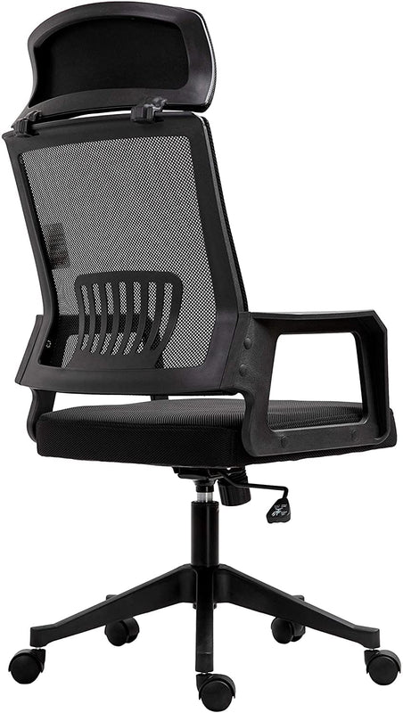 Beni Mesh Fabric Swivel Office Chair with Headrest Black 4