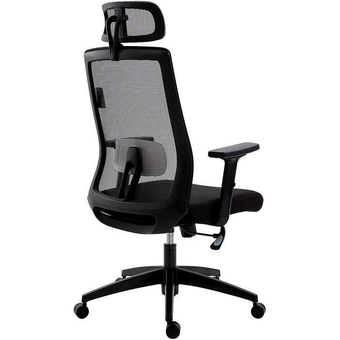 Cherry Tree Furniture Mesh Fabric Desk Chair Office Chair with Adjustable Armrests & Lumbar Support Black, With Headrest