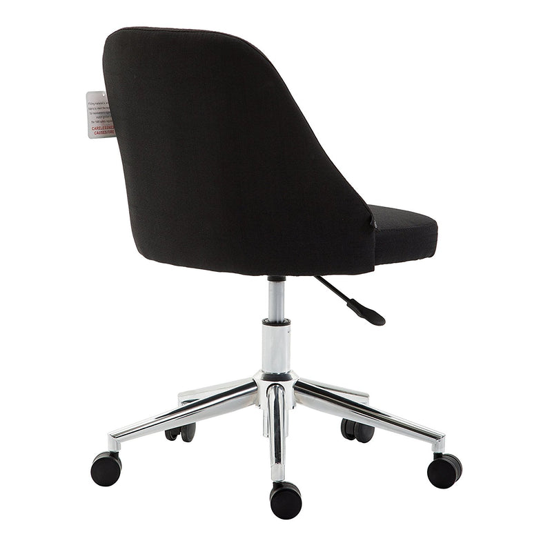 brushed fabric medium back computer desk office swivel chair with chrome base black