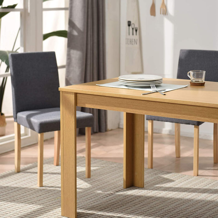 5 Piece Dining Room Set 4 Seater Dining Table with 4 Chairs with Oak Colour Table and Grey fabric Seats 5