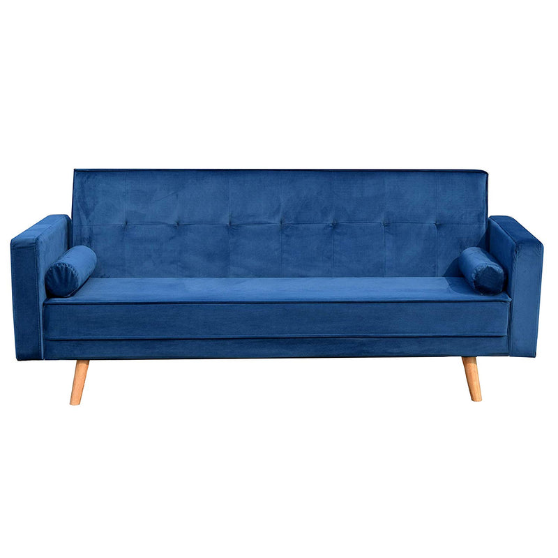 NORA 3-Seater Fabric Sofa Bed Sleeper Sofa with Cushions, Navy Blue Velvet