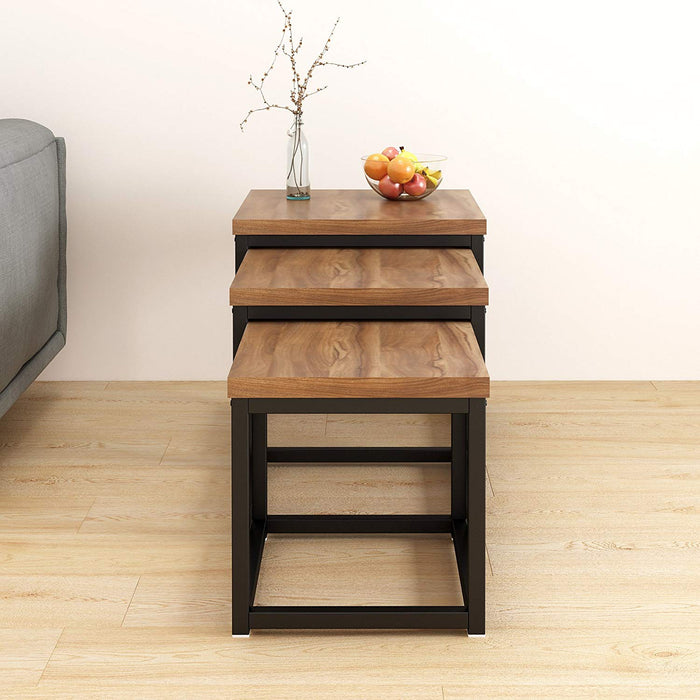 CLIVE Walnut Nest of 3 Tables End Tables