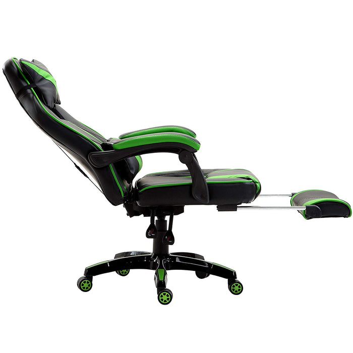 high back recliner gaming swivel chair with footrest adjustable lumbar head cushion black green